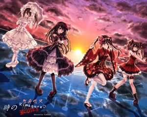 Rating: Safe Score: 120 Tags: bandage bicolored_eyes black_hair boots bow clouds date_a_live dress eyepatch garter gloves goth-loli gun headdress japanese_clothes lolita_fashion long_hair pantyhose reflection ribbons sky sunset tokisaki_kurumi tsubasaki twintails watermark weapon yukata User: RyuZU