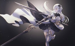 Rating: Safe Score: 78 Tags: armor breasts cleavage dress elbow_gloves gloves gradient long_hair neon_(pixiv_31150749) original sword thighhighs weapon white_hair wings yellow_eyes User: Dreista