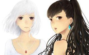 Rating: Safe Score: 125 Tags: 2girls blush bou_nin brown_eyes brown_hair close necklace original ponytail white white_hair User: shaneoyo