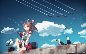 Rating: Safe Score: 85 Tags: aircraft animal bird brown_eyes brown_hair clouds equipments_fairy_(kancolle) headband kantai_collection ponytail sky yunamul zuihou_(kancolle) User: kokiriloz