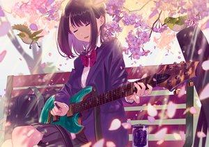 Rating: Safe Score: 61 Tags: animal bird black_hair cherry_blossoms drink flowers guitar instrument original park petals poligon046 school_uniform User: Dreista
