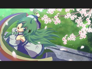 Rating: Safe Score: 14 Tags: animal aqua_eyes bell breasts cherry_blossoms flowers green_hair irie_(masaki) japanese_clothes kochiya_sanae long_hair miko petals snake touhou User: RyuZU