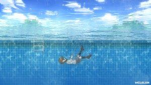 Rating: Safe Score: 18 Tags: black_hair bubbles clouds kneehighs mclelun original pool school_uniform short_hair skirt sky underwater water watermark User: RyuZU