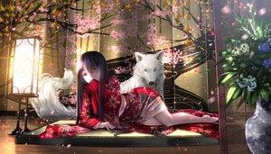 Rating: Safe Score: 175 Tags: animal black_hair flowers houraisan_kaguya inubashiri_momiji japanese_clothes kimono long_hair petals ryosios touhou wolf User: Flandre93