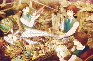 Rating: Safe Score: 32 Tags: aircraft all_male ame_(conronca) aqua_eyes book brown_hair candy drink feathers flowers food glasses goggles group male original paper short_hair yellow_eyes User: c86