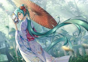 Rating: Safe Score: 23 Tags: green_eyes green_hair hatsune_miku japanese_clothes kimono long_hair mask umbrella vocaloid xiaosan_ye User: BattlequeenYume