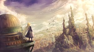 Rating: Safe Score: 90 Tags: animal bird blonde_hair building city clouds dress goth-loli landscape lolita_fashion long_hair original scenic sky tagme_(artist) User: BattlequeenYume