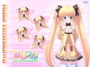 Rating: Safe Score: 6 Tags: bicolored_eyes blonde_hair hoshiful hoshikawa_ruka ikegami_akane long_hair pink school_uniform stars thighhighs twintails User: Oyashiro-sama