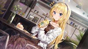 Rating: Safe Score: 158 Tags: aogiri_koukou_game_club blonde_hair blue_eyes blush book bow cake dress drink food fruit headband kuria_(clear_trip_second) long_hair minazuki_natsuki necklace starbucks strawberry User: RyuZU