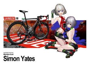 Rating: Safe Score: 52 Tags: 2girls bicycle blue_eyes gloves gray_hair hitomi_kazuya original skintight watermark User: gnarf1975