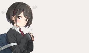 Rating: Safe Score: 96 Tags: black_hair blush brown_eyes original peko school_uniform short_hair tie User: sadodere-chan