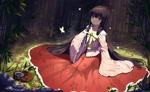 Rating: Safe Score: 42 Tags: black_hair butterfly dress forest houraisan_kaguya long_hair red_eyes snozaki touhou tree watermark User: Nepcoheart