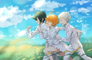 Rating: Safe Score: 8 Tags: clouds emma_(yakusoku_no_neverland) grass gray_hair green_hair male melings norman_(yakusoku_no_neverland) orange_hair ray_(yakusoku_no_neverland) shirt short_hair skirt sky tattoo yakusoku_no_neverland User: RyuZU