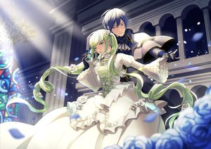 Rating: Safe Score: 21 Tags: blue_eyes blue_hair building cantarella_(vocaloid) dress flowers gloves green_eyes green_hair hatsune_miku kaito male nokuhashi petals rose vocaloid User: FormX
