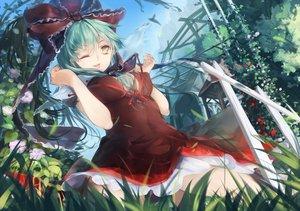 Rating: Safe Score: 92 Tags: bow dress flowers grass green_eyes kagiyama_hina leaves long_hair tenhenoboru touhou tree User: humanpinka