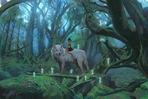 Rating: Safe Score: 40 Tags: animal forest kodama mononoke_hime san snatti tree wolf User: boomshadow