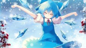 Rating: Safe Score: 47 Tags: aqua_hair cirno dress fairy gengetsu_chihiro short_hair snow touhou wings winter User: RyuZU