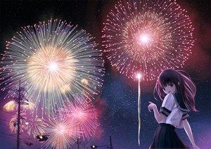 Rating: Safe Score: 102 Tags: brown_hair chikuwa_(glossymmmk) fireworks night original seifuku stars User: FormX