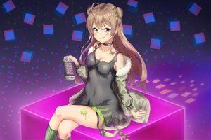 Rating: Safe Score: 69 Tags: angdo_(kakajo26) anthropomorphism blush breasts brown_hair choker cleavage dress game_console girls_frontline green_eyes kneehighs long_hair rfb_(girls_frontline) User: otaku_emmy