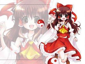 Rating: Safe Score: 16 Tags: brown_hair hakurei_reimu japanese_clothes long_hair miko red_eyes ribbons touhou User: Oyashiro-sama