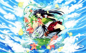 Rating: Safe Score: 25 Tags: black_hair book clouds flowers green_eyes itou_noiji long_hair sky User: 秀悟