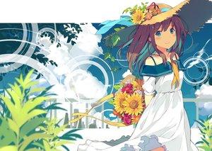 Rating: Safe Score: 107 Tags: aqua_eyes brown_hair clouds dress flowers hat long_hair original sutorora User: RyuZU
