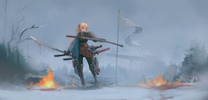 Rating: Safe Score: 66 Tags: aegisfate armor fire katana ponytail sword techgirl weapon User: Dreista