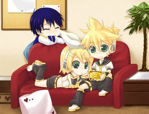 Rating: Safe Score: 18 Tags: blonde_hair couch game_console kagamine_len kagamine_rin kaito male ribbons vocaloid User: HawthorneKitty