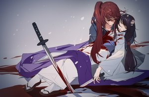Rating: Safe Score: 24 Tags: black_hair blood gradient grandialee himura_kenshin japanese_clothes katana kimono knife long_hair male ponytail red_hair rurouni_kenshin sword tears weapon yukishiro_tomoe User: RyuZU