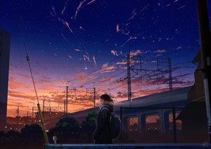 Rating: Safe Score: 40 Tags: black_hair building city clouds mocha_(cotton) original scenic school_uniform short_hair signed sky stars sunset User: RyuZU