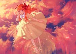 Rating: Safe Score: 139 Tags: animal barefoot bow cotta dress fish gekkan_shoujo_nozaki-kun long_hair orange_hair pink_eyes reflection sakura_chiyo water User: Flandre93