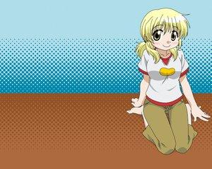 Rating: Safe Score: 15 Tags: barefoot blonde_hair blue blush brown hidamari_sketch miyako vector yellow_eyes User: 秀悟