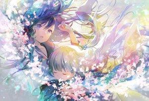 Rating: Safe Score: 45 Tags: 2girls 888myrrh888 flowers hug japanese_clothes kimono long_hair original petals school_uniform User: BattlequeenYume