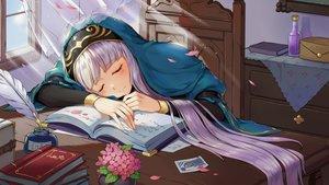Rating: Safe Score: 27 Tags: book feathers flowers game_cg headdress long_hair mirror_(game) petals priestess_martha sleeping tagme_(artist) white_hair User: Demuwu