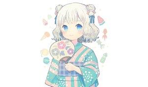 Rating: Safe Score: 37 Tags: aqua_eyes ayu_(mog) blush brown_hair fan japanese_clothes loli original short_hair third-party_edit white yukata User: otaku_emmy