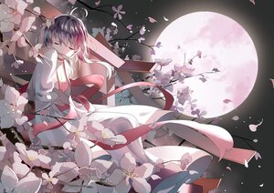 Rating: Safe Score: 45 Tags: flowers moon night polychromatic ribbons sky tadatsu vocaloid vsinger yuezheng_ling User: BattlequeenYume