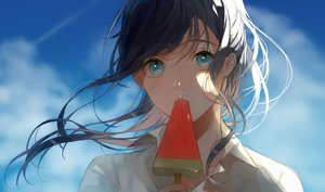 Rating: Safe Score: 65 Tags: aqua_eyes black_hair close clouds long_hair mikuro_(396) original popsicle shirt sky User: RyuZU