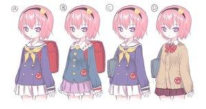 Rating: Safe Score: 51 Tags: bow headband kiira komeiji_satori pink_hair purple_eyes seifuku short_hair skirt touhou white User: otaku_emmy