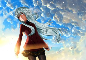 Rating: Safe Score: 56 Tags: clouds gray_hair long_hair nukosan. original pantyhose red_eyes school_uniform sky winter User: Wiresetc