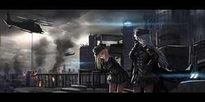 Rating: Safe Score: 24 Tags: 2girls blonde_hair building cape city clouds combat_vehicle fire gray_eyes gray_hair hat jpeg_artifacts long_hair military original ruins skirt sky tagme_(artist) yellow_eyes User: RyuZU