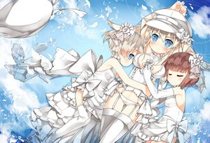 Rating: Safe Score: 87 Tags: anthropomorphism bismarck_(kancolle) blonde_hair blue_eyes bow breasts brown_hair elbow_gloves garter_belt gloves kantai_collection loli long_hair panties petals saru short_hair thighhighs underwear water wedding_attire white_hair z1_leberecht_maass_(kancolle) z3_max_schultz_(kancolle) User: Flandre93