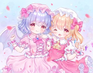 Rating: Safe Score: 29 Tags: 2girls blonde_hair blue_hair blush bow dress flandre_scarlet hat loli omochi_monaka petals ponytail red_eyes remilia_scarlet ribbons short_hair touhou vampire wings wink wristwear User: otaku_emmy