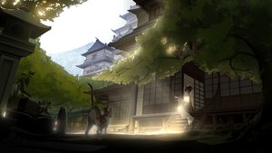 Rating: Safe Score: 66 Tags: animal animal_ears black_hair building cat catgirl futoshi_ame headdress japanese_clothes kimono original shade stairs tree User: BattlequeenYume