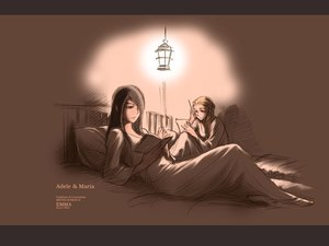 Rating: Safe Score: 4 Tags: 2girls adele bed black_hair blonde_hair book maria_(victorian_romance_emma) mori_kaoru sketch victorian_romance_emma User: Oyashiro-sama