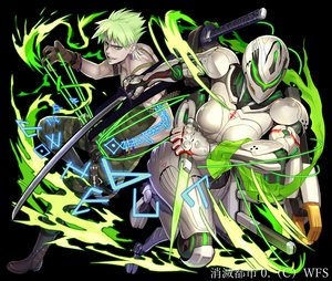Rating: Safe Score: 11 Tags: armor boots gloves green_eyes green_hair katana knife magic male ogami robot short_hair sword tattoo techgirl weapon User: otaku_emmy