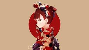 Rating: Safe Score: 111 Tags: anne_(wixoss) bow brown brown_hair green_eyes headdress japanese_clothes kimono shamonabe signed wixoss User: Hakha