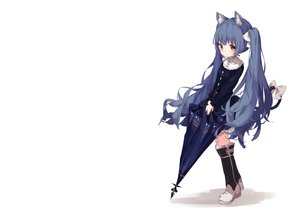 Rating: Safe Score: 63 Tags: animal_ears blue_hair boots catgirl dress fujii_shino goth-loli loli lolita_fashion long_hair original red_eyes tail umbrella white User: otaku_emmy