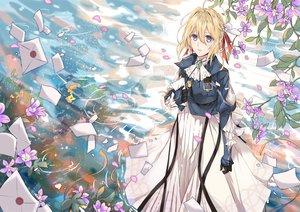 Rating: Safe Score: 20 Tags: blonde_hair blue_eyes dress flowers paper petals tagme_(artist) violet_evergarden violet_evergarden_(character) water User: RyuZU