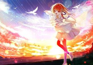 Rating: Safe Score: 16 Tags: animal bird bow chano_hinano clouds orange_eyes orange_hair original pantyhose polychromatic sky sunset water User: Dreista