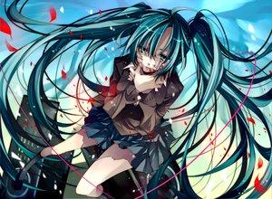 Rating: Safe Score: 169 Tags: bandaid blood crying green_eyes green_hair hatsune_miku kneehighs long_hair music rolling_girl_(vocaloid) skirt tsukioka_tsukiho twintails vocaloid User: HawthorneKitty